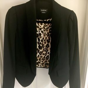 NWOT Black Bebe Blazer With Leopard Print